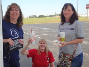 Our Three Amigos: Judy, Lynne and Suzette caffeinated and ready to travel!