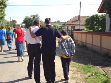Pastor Rica with friend Mac (who first brought him to Rogova) and a village boy