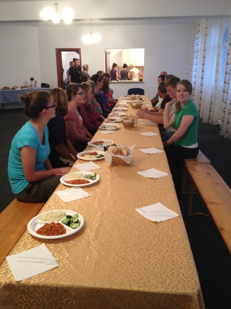 One of our fabulous dinners served by the tireless people at the church in Severin